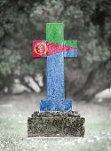 pic of eritrea  - Old weathered gravestone in the cemetery  - JPG
