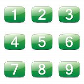 stock photo of numbers counting  - Numbers Counting Square Vector Green Icon Design Set - JPG
