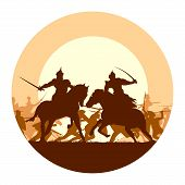 picture of battle  - Abstract round logo of illustration fight between two warriors on background of battle at sunset - JPG