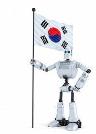 stock photo of hangul  - Robot standing with flag of South Korea - JPG