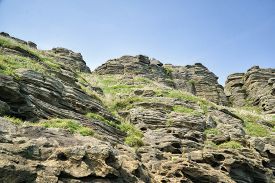 pic of dragon  - Yongmeori beach in Jeju Island is famous place for the majestic scenery by the sea and the seashore cliffs made of sandstone stacks - JPG