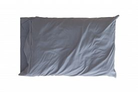 image of pillowcase  - Comfortable soft pillow in a wrinkled grey pillowcase for protection and hygiene isolated on white - JPG