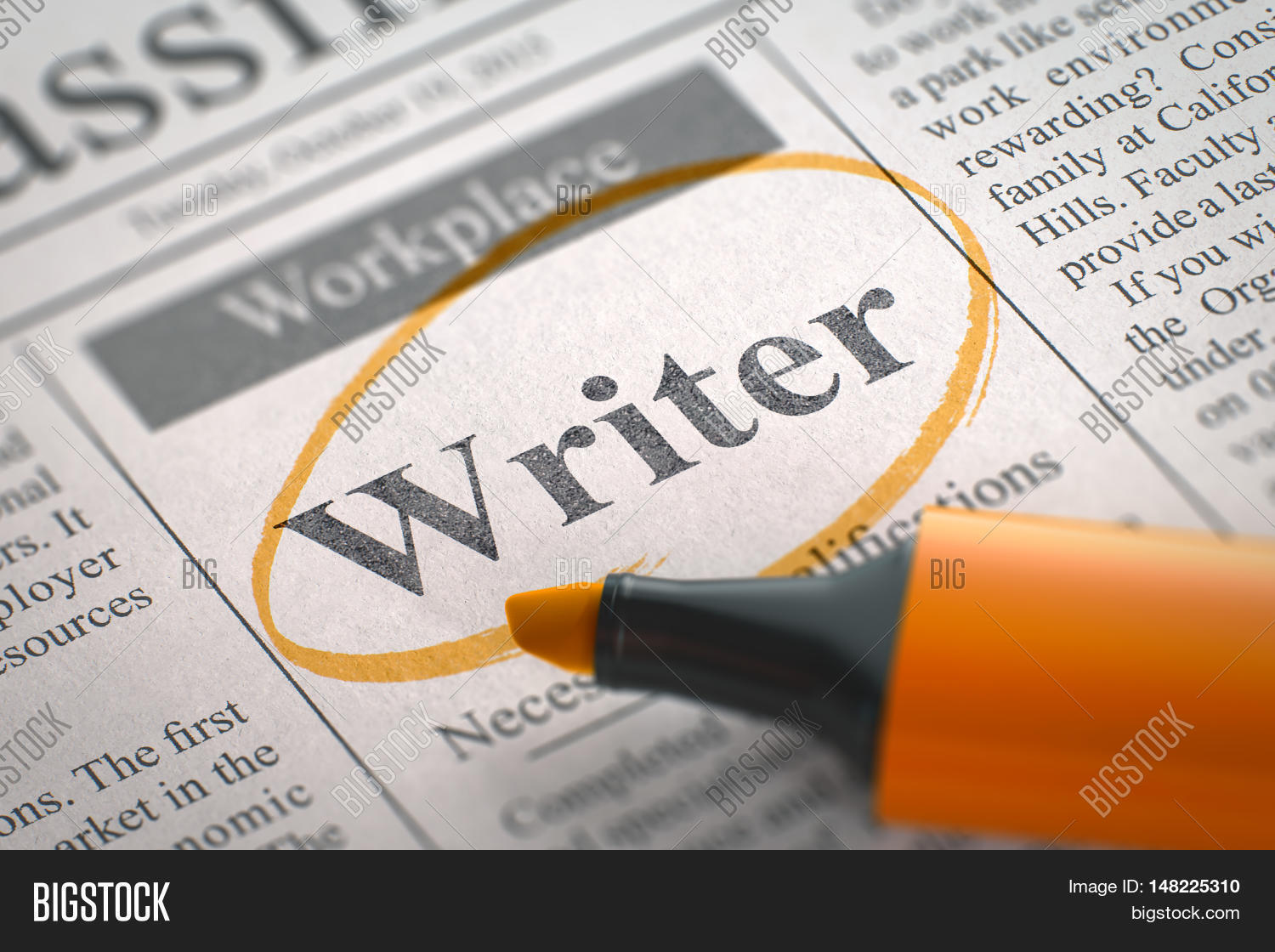 writer vacancy newspaper circled image photo bigstock writer vacancy in newspaper circled a orange highlighter blurred image selective