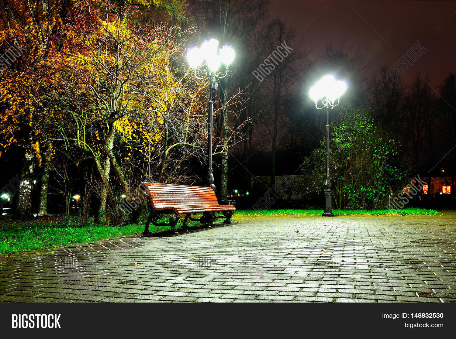 Autumn rainy night with lonely bench under yellowed autumn ...