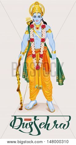Happy dussehra hindu festival. Lord Rama holding bow and arrow. Isolated vector illustration for greeting card