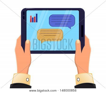 Tablet in man's hands. Message exchange. Icon modern technologies. Vector stock illustration