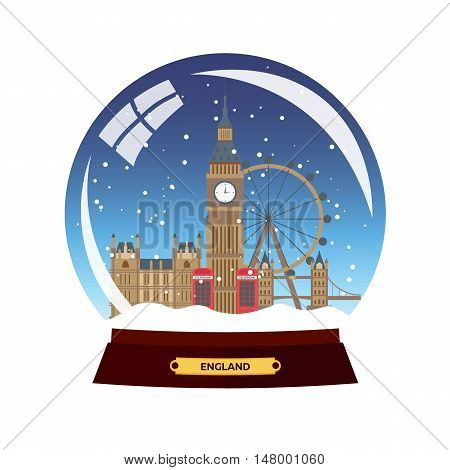 Snow Globe City. London In Snow Globe. Winter Travel Vector Illustration