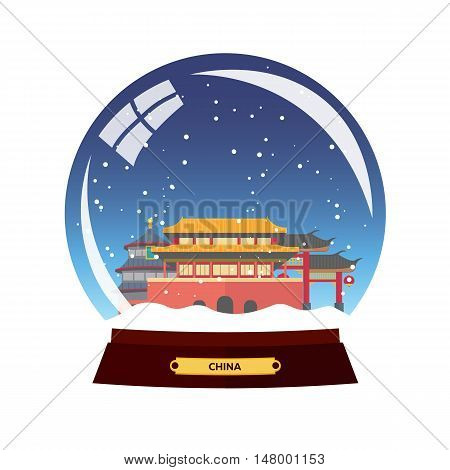 Snow Globe City. China, Beijing In Snow Globe. Winter Travel Vector Illustration