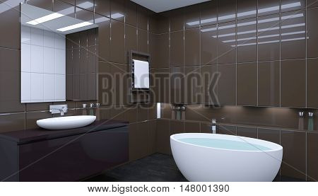 Bathroom Lonely Bachelor Apartment. 3D Visualization
