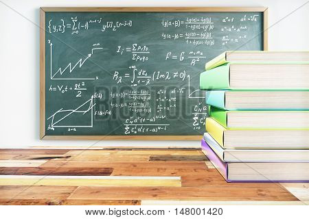 Education concept. Pile of colorful book on wooden surface and blackboard with mathematical formulas. 3D Rendering