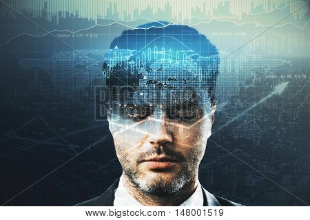 Man thinking about profit on abstract background. Financial growth concept. Double exposure.