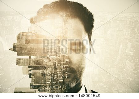 Half of caucasian man's face with closed eyes and rotated sideways city on abstract background with light. Double exposure