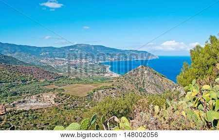 The agriculture lands with lush gardens around Tindari Mount Sicily Italy.