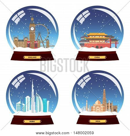 Set Snow Globe City. England, China, Dubai And India In Snow Globe. Winter Travel Vector Illustratio