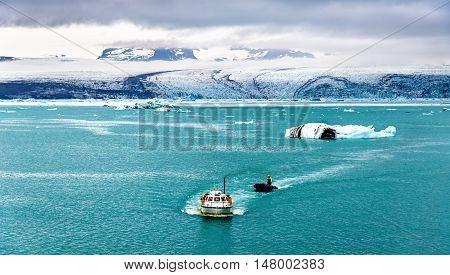 Boats in Jokulsarlon glacier lagoon - South Iceland
