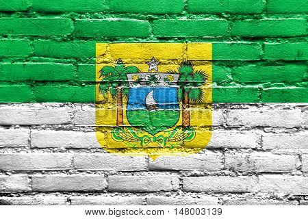 Flag Of Rio Grande Do Norte State, Brazil, Painted On Brick Wall