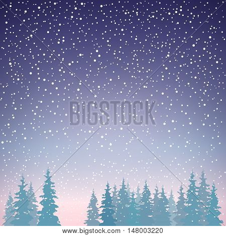 Snowfall in the Forest, Snow Falls on the Spruces, Fir Trees in Winter in Snowfall, Winter Background, Christmas Winter Landscape in Purple Shades, Vector Illustration