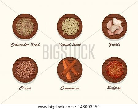 Set of different kinds of spices on wooden board. Collection of condiments - coriander seed, fennel seed, garlic, cloves, cinnamon and saffron. Realistic vector illustration.