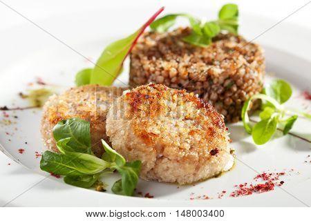 Meat Cutlet with Buckwheat Garnish