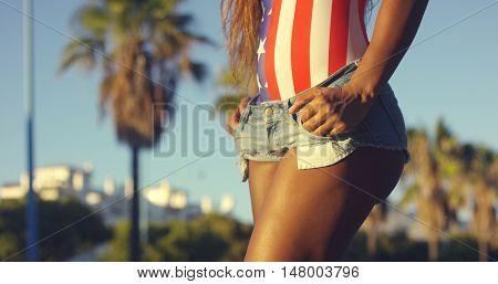 Fit Girl Wearing Casual Mini Denim Shorts