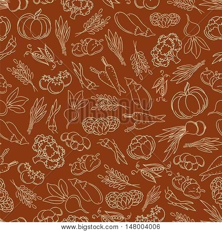 Harvest festival seamless pattern with line vegetables vector illustration