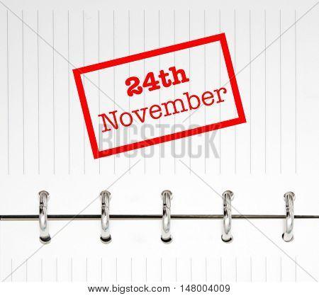 24th November written on an agenda