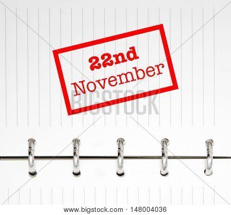 22nd November written on an agenda
