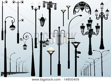 illustration with street lamps collection