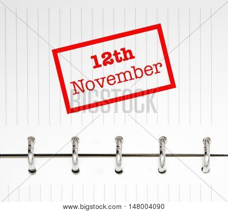 12th November written on an agenda