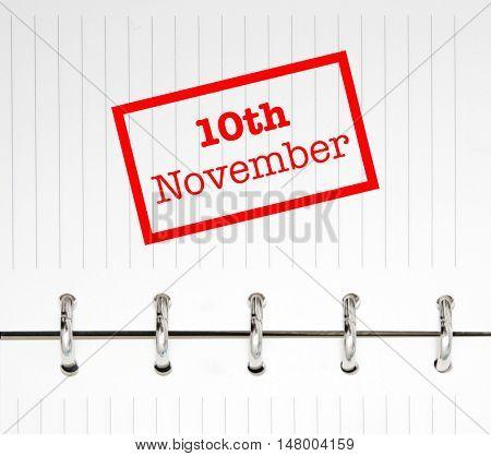 10th November written on an agenda
