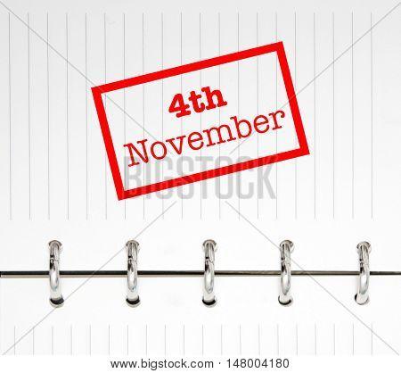 4th November written on an agenda