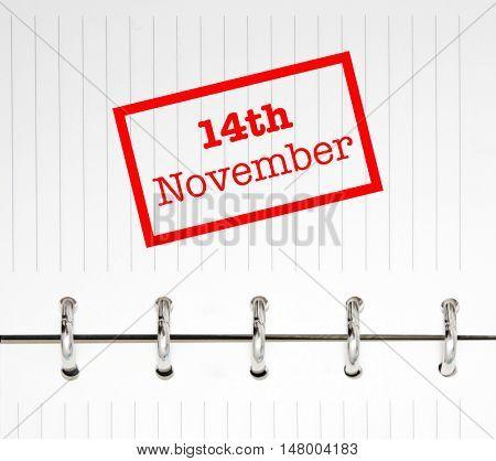 14th November written on an agenda