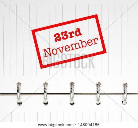 23rd November written on an agenda