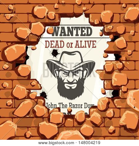 Police wanted advertisment with brick stone wall vector illustration