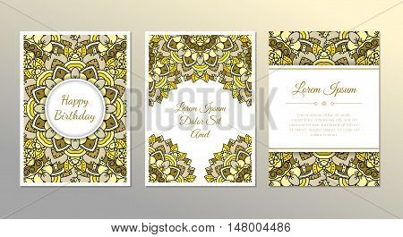 Cute vintage doodle cards set for invitation label banner party baby shower hen-party mother's day. Beautiful mandala background with frame. Indian style. Vector zentangle illustration