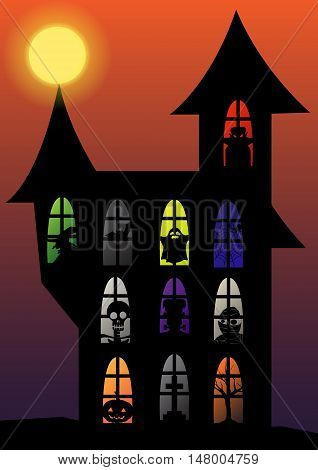 halloween night silhouette black shadow evil set