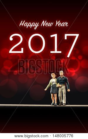 a happy couple celebrating the New Year 2017