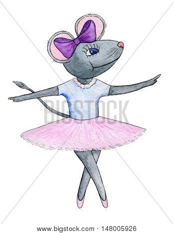 Mouse dancing. Mouse ballerina isolated on white background.