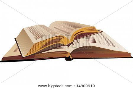 illustration with two open books isolated on white background