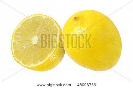 cut and whole lemon fruits isolated on white background with clipping path