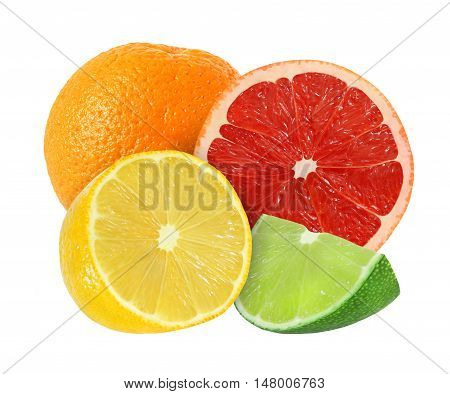 whole and cut orange grapefruit lemon lime fruits isolated on white background with clipping path