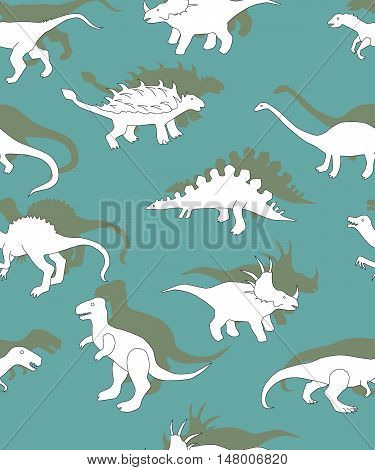 seamless pattern with dinosaurs dinosaurs white silhouettes on a green background