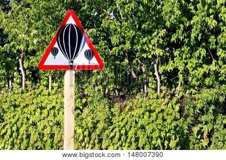 Outdoor black and white air balloon sign
