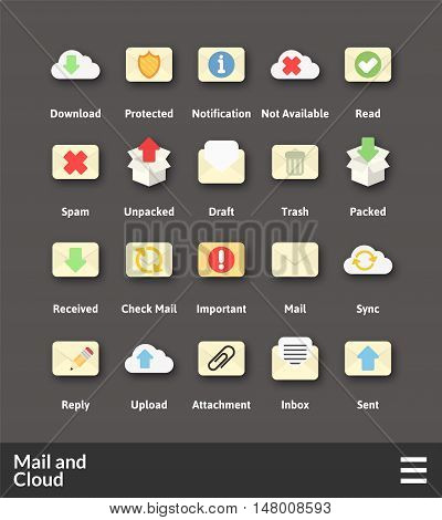 Flat material design icons set - mail and cloud collection