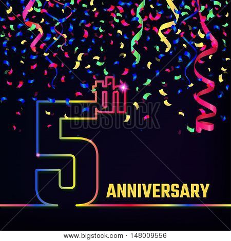 Vector Illustration of Anniversary 5th Outline for Design, Website, Background, Banner. Jubilee silhouette Element Template for festive greeting card. Shiny colorful Confetti celebration