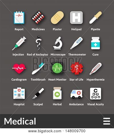 Flat material design icons set - medical collection
