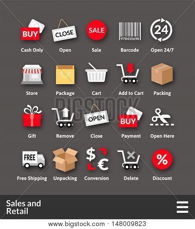 Flat material design icons set - sales and retail collection