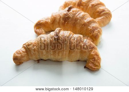 delicious Croissant isolated on white background closeup