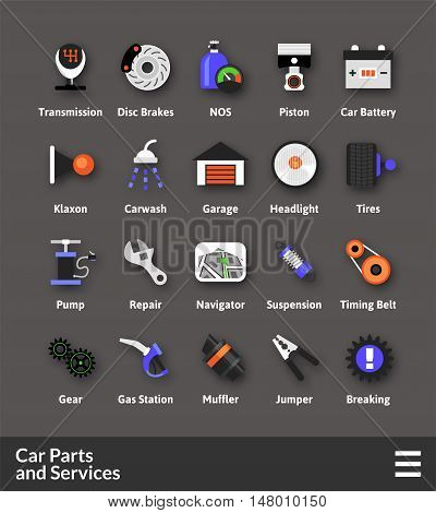 Flat material design icons set - car parts and services