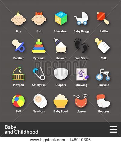 Flat material design icons set - baby and childhood